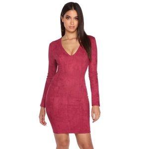 NWT Windsor Burgundy Suede Stretch Midi Dress